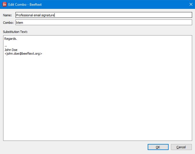 Beeftext 利用預先建立的關鍵字,替換成段落文字,節省輸入時間